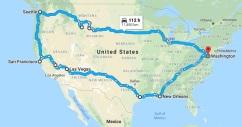 Mapa roteiro viagem EUA2