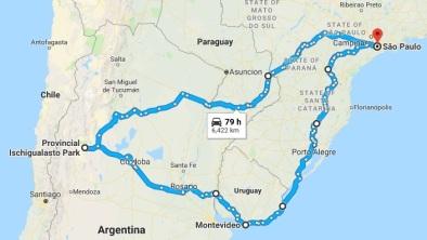 Mapa roteiro viagem Uruguai e Argentina2