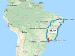 Mapa roteiro viagem nordeste2