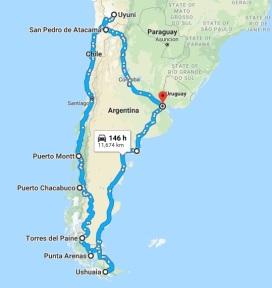 Mapa roteiro viagem patagonia1.2