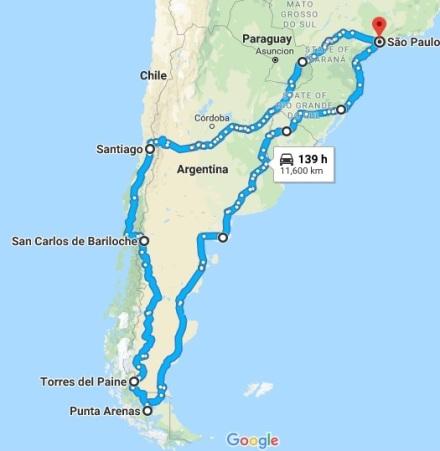 Mapa roteiro viagem patagonia2.2