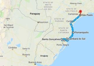 Mapa roteiro viagem sul Brasil2